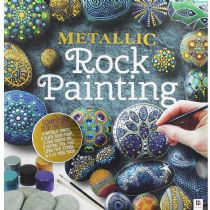 Paint Your Own Metallic Rocks Kit Paints, Brush, Dotting Tool and 4 Stones Inc.